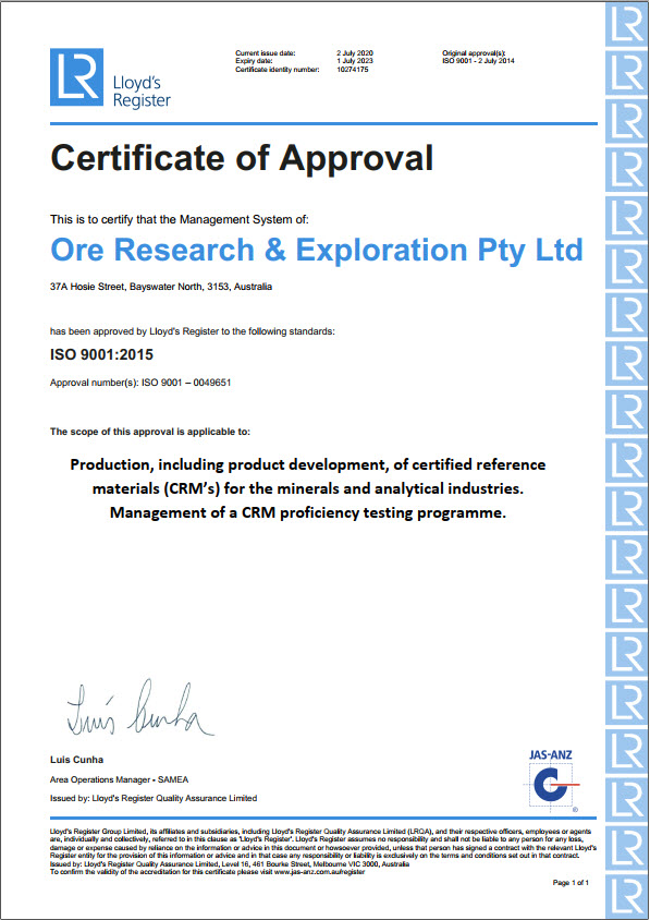 ORE PTY LTD ISO 9001 QMS Certification LRQA